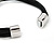 Silver Tone Flower Black Cotton Cord Magnetic Bracelet - 19cm Length - view 4
