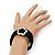 Silver Tone Flower Black Cotton Cord Magnetic Bracelet - 19cm Length - view 5