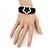 Silver Tone Flower Black Cotton Cord Magnetic Bracelet - 19cm Length - view 2