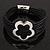 Silver Tone Flower Black Cotton Cord Magnetic Bracelet - 19cm Length - view 6