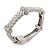 Stylish Braided Diamante Magnetic Bracelet In Matt Silvertone - 17cm Length - view 2
