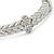 Stylish Braided Diamante Magnetic Bracelet In Matt Silvertone - 17cm Length - view 9