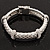 Stylish Braided Diamante Magnetic Bracelet In Matt Silvertone - 17cm Length