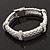Stylish Braided Diamante Magnetic Bracelet In Matt Silvertone - 17cm Length - view 5