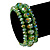 Set Of 3 Grass Green Glass Flex Bracelets - 18cm Length