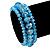 Set Of 3 Sky Blue Glass Flex Bracelets - 18cm Length