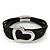 Silver Tone 'Heart' Black Cotton Cord Magnetic Bracelet - 19cm Length