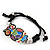 Multicoloured Enamel 'Owl' Black Cotton Cord Bracelet - Adjustable