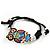 Multicoloured Enamel 'Owl' Black Cotton Cord Bracelet - Adjustable - view 4