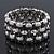 Matt/Polished Silver Bar Crystal Flex Bracelet - 18cm Length