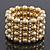 Wide Matt Gold Bead/Crystal Flex Bracelet - 18cm Length