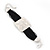 Ethnic Hammered Square Disk Black Cotton Cord Bracelet In Silver Plating - 16cm Length/ 5cm Extension