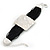 Ethnic Hammered Square Disk Black Cotton Cord Bracelet In Silver Plating - 16cm Length/ 5cm Extension - view 6