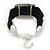 Ethnic Hammered Square Disk Black Cotton Cord Bracelet In Silver Plating - 16cm Length/ 5cm Extension - view 5