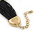 Ethnic Hammered Square Disk Black Cotton Cord Bracelet In Gold Plating - 16cm Length/ 5cm Extension - view 7
