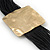 Ethnic Hammered Square Disk Black Cotton Cord Bracelet In Gold Plating - 16cm Length/ 5cm Extension - view 3