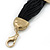 Ethnic Hammered Square Disk Black Cotton Cord Bracelet In Gold Plating - 16cm Length/ 5cm Extension - view 8