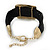 Ethnic Hammered Square Disk Black Cotton Cord Bracelet In Gold Plating - 16cm Length/ 5cm Extension - view 4