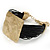 Ethnic Hammered Square Disk Black Cotton Cord Bracelet In Gold Plating - 16cm Length/ 5cm Extension - view 10
