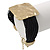 Ethnic Hammered Square Disk Black Cotton Cord Bracelet In Gold Plating - 16cm Length/ 5cm Extension - view 5