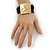 Ethnic Hammered Square Disk Black Cotton Cord Bracelet In Gold Plating - 16cm Length/ 5cm Extension - view 6