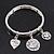Silver Plated Charm 'Heart, Dove & Love' Flex Bangle Bracelet - 18cm Length