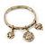 Burn Gold Charm 'Heart, Dove & Love' Flex Bangle Bracelet - 19cm Length