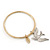 Thin Hammered Charm 'Swallow & Medallion' Bangle In Gold Plating - 18cm Length