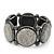 Glittering Metallic Silver Circle Flex Bracelet In Gun Metal - 20cm Length