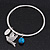 Thin Hammered Charm 'Swallow, Turquoise Bead & Medallion' Bangle In Silver Plating - 18cm Length - view 5