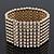 Polished Gold Plated Bead Swarovski Crystal Flex Bracelet - 17cm Length