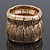 Burn Gold Finish Wide Textured Flex Bracelet - 18cm Length