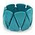 Wide Turquoise Stone Flex Bracelet - 18cm Length - view 2