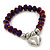 Chameleon Purple Faceted Glass Bead 'Heart' Flex Bracelet - up to 22cm Length - view 3