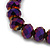 Chameleon Purple Faceted Glass Bead 'Heart' Flex Bracelet - up to 22cm Length - view 4