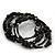 Vintage Style 'Daisy' Glass&Ceramic Bead Coil Flex Bracelet - Black - view 2