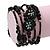 Vintage Style 'Daisy' Glass&Ceramic Bead Coil Flex Bracelet - Black - view 3