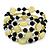 Acrylic & Shell Bead Coil Flex Bangle Bracelet (Lime Green and Black) - Adjustable