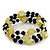 Acrylic & Shell Bead Coil Flex Bangle Bracelet (Lime Green and Black) - Adjustable - view 3