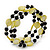 Acrylic & Shell Bead Coil Flex Bangle Bracelet (Lime Green and Black) - Adjustable - view 4