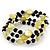 Acrylic & Shell Bead Coil Flex Bangle Bracelet (Lime Green and Black) - Adjustable - view 6
