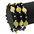 Acrylic & Shell Bead Coil Flex Bangle Bracelet (Lime Green and Black) - Adjustable - view 2