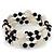 Acrylic & Shell Bead Coil Flex Bangle Bracelet (Black and White) - Adjustable