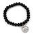 Black Glass Bead 'Peace' Flex Bracelet - 19cm Length