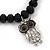 Black Glass Bead 'Owl' Flex Bracelet - 19cm Length - view 2