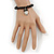 Black Glass Bead 'Owl' Flex Bracelet - 19cm Length - view 4