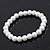 Classic White Simulated Glass Pearl Flex Bracelet - 8mm diameter/Up to 20cm Length - view 6
