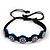 Blue/Black Floral Wooden Friendship Style Cotton Cord Bracelet - Adjustable