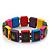 Multicoloured Wooden 'Hemp Leaf' Stretch Bracelet - Adjustable - view 2