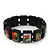 """Black Bob Marley """"One Love"""" Wooden Stretch Bracelet - up to 20cm length - view 2"""